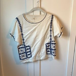 Madewell XS White and blue shirt